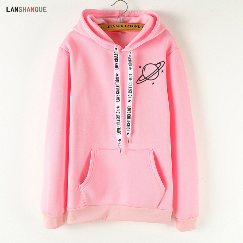 LANSHANQUE Brand Female Hoodies Women Long Sleeve Hooded Sweatshirt Universe Print Tracksuit Sweat Coat Autumn Casual Sportswear(China)