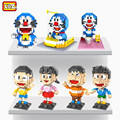 Бесплатная доставка Аниме Мультфильм Doraemon LOZ Блоки Робот Кошка Фигурку ABS DIY Игрушки Лучший Подарок На День Рождения