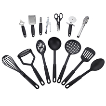 New 14pcs/Lot Oil Spray Cozinha Cucina 100% Food Grade Kitchen Tools Black Heat Resistant Cooking Utensil Set Non-stick