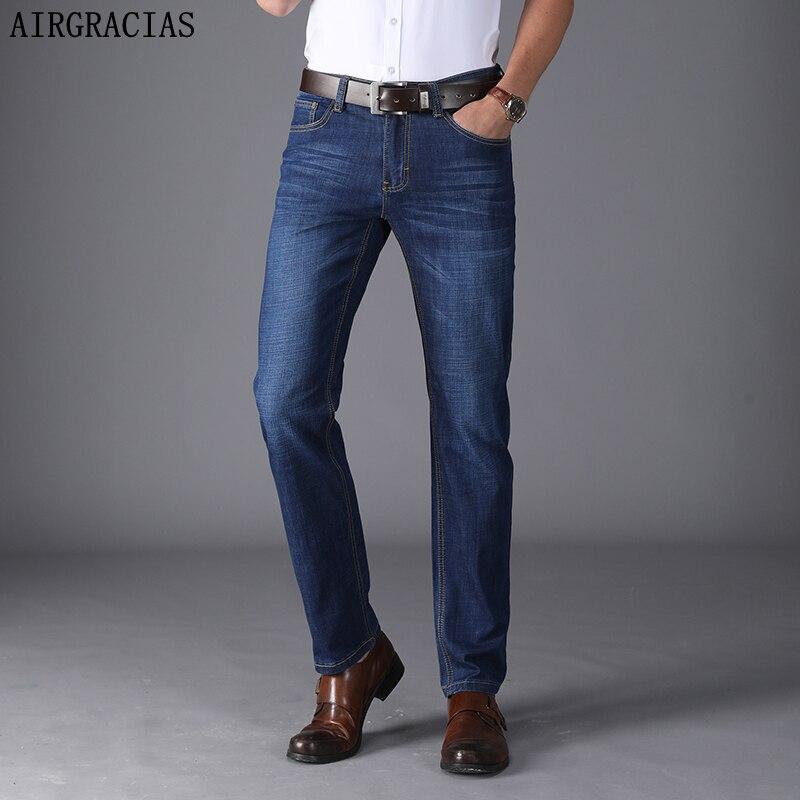 AIRGRACIAS Men'S Classic Jeans Plus Size 28-40 Straight Pantalon Homme Regular Jean Distressed Design Biker Jean Long Pants