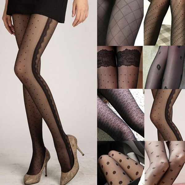 Fashion Sexy Women Lace Core Thin Black Silk Stockings Slim Tights Classic Small Dot Lady Pantyhose Female Hosiery 11 Styles image