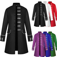 2018 new men's coat medieval pure color fashion steampunk retro men's uniform