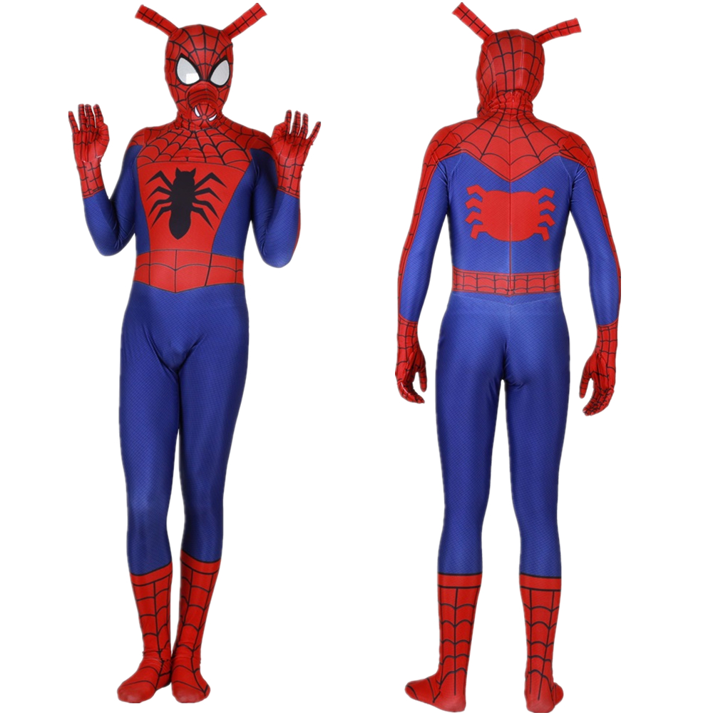 Adult Kids Spider Ham Spider-Man: Into the Spider-Verse Jumpsuit Cosplay Costume Bodysuit Spiderman Zentai Superhero Suit