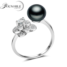 Genuine Black Natural Freshwater Pearl Ring Women,real 925 Silver Flower Ring Girl Birthday Gift