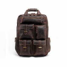 New 2016 Men's Genuine Leather Backpack Men crazy horse leather laptop School Backpack Book bag Cowhide Travel Backpack LI-1207