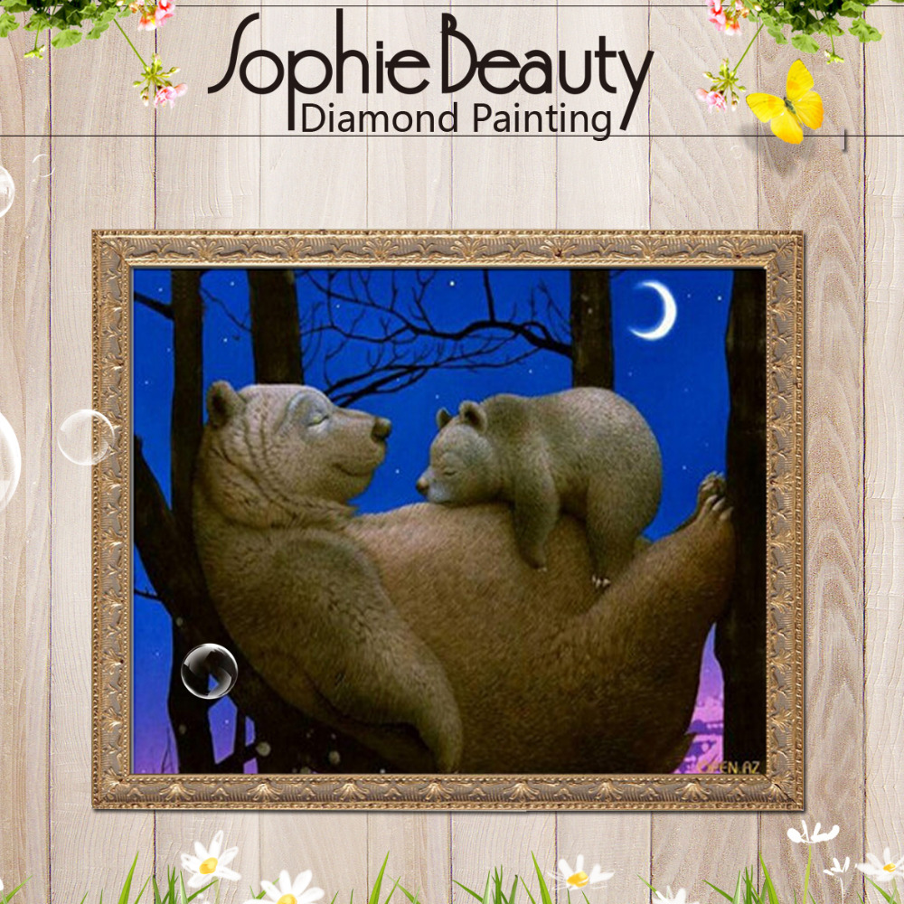 Sophie Beauty New Diy Diamond Painting Cross Stitch Handcraft Example Of Amplifier Assembly With Lm1875 Suggested By The National Embroidery Animal Bear Mother Sleeping Moon Square Mosaic