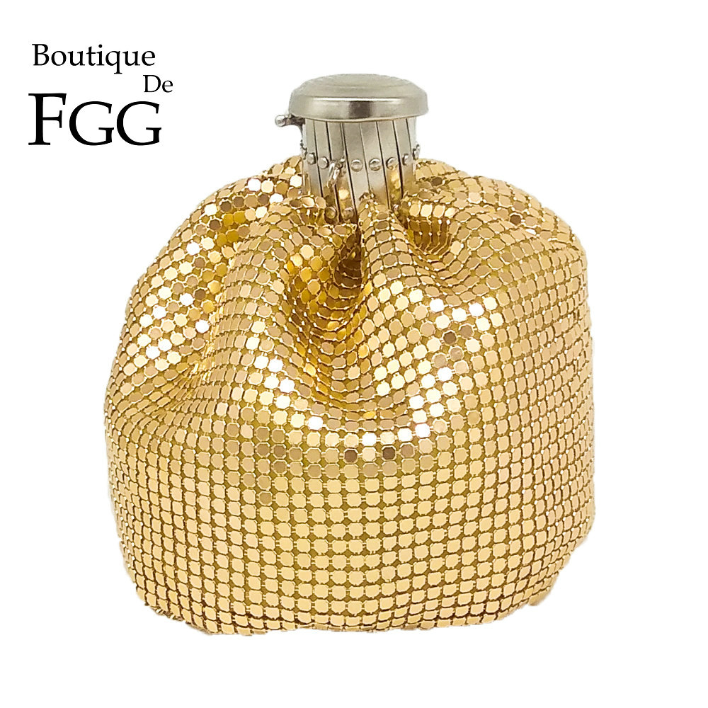 Boutique De FGG Aluminum Wine Pot Women Mini Evening Purses And Handbags Ladies Casual Coin Purse Bags