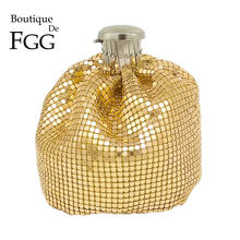 Boutique De FGG De aluminio Wine Pot mujeres Mini bolsos De noche y bolsos señoras Casual bolsa monedero(China)