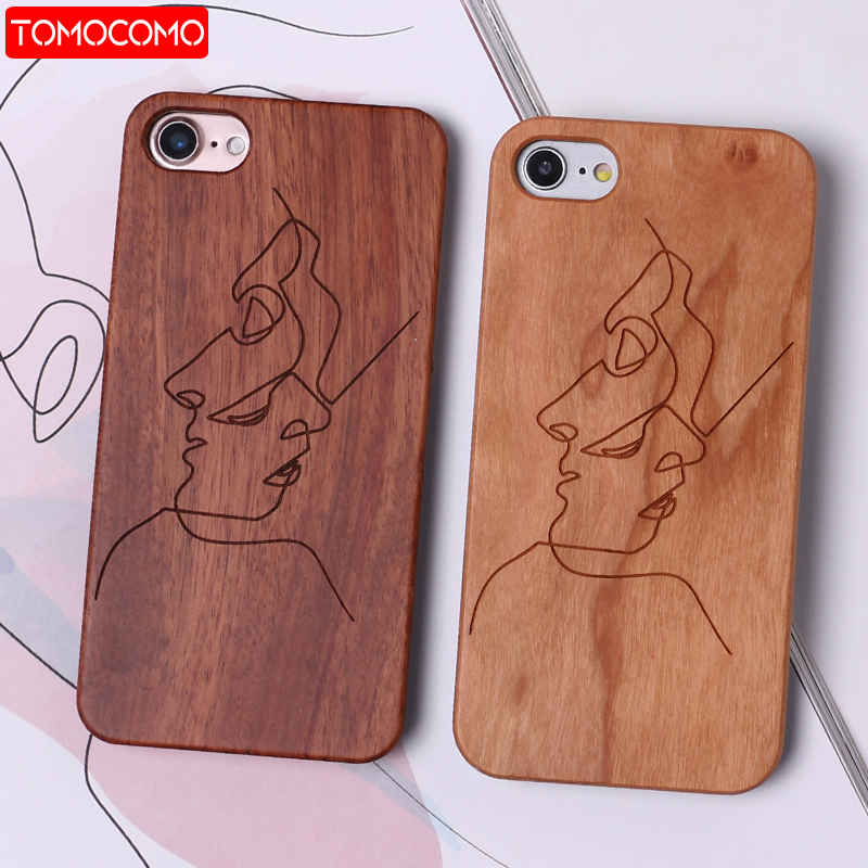 TOMOCOMO Abstract Lover Face Black Real Wood Hard Case Fundas Coque Cover For iPhone 6 6S 5 5S SE 8 8Plus X 7 7Plus SAMSUNG S8