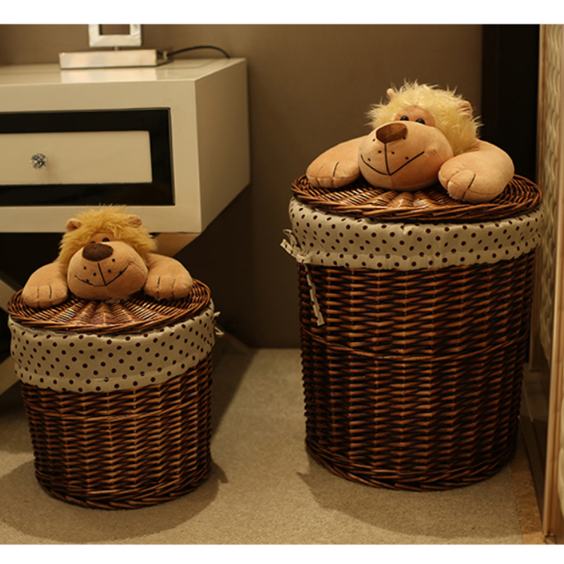Round Wicker Basket Organizer For Toys Clothes Neatening Small Large Wicker  Storage Baskets Wicker Laundry Basket With Dog Lids In Storage Baskets From  Home ...
