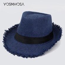 0a006ee37953f Flash de Palha Plana Chapéu de Cowboy do vintage para Mulheres Dos Homens  de Verão Jazz Cap Aba Larga Sun Caps WH601