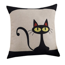 Наволочка Gajjar с рисунком кота, наволочка из хлопка и льна, наволочка с милым черным котом, наволочка для подушки, наволочка для дома, квадратная наволочка 34OCT21