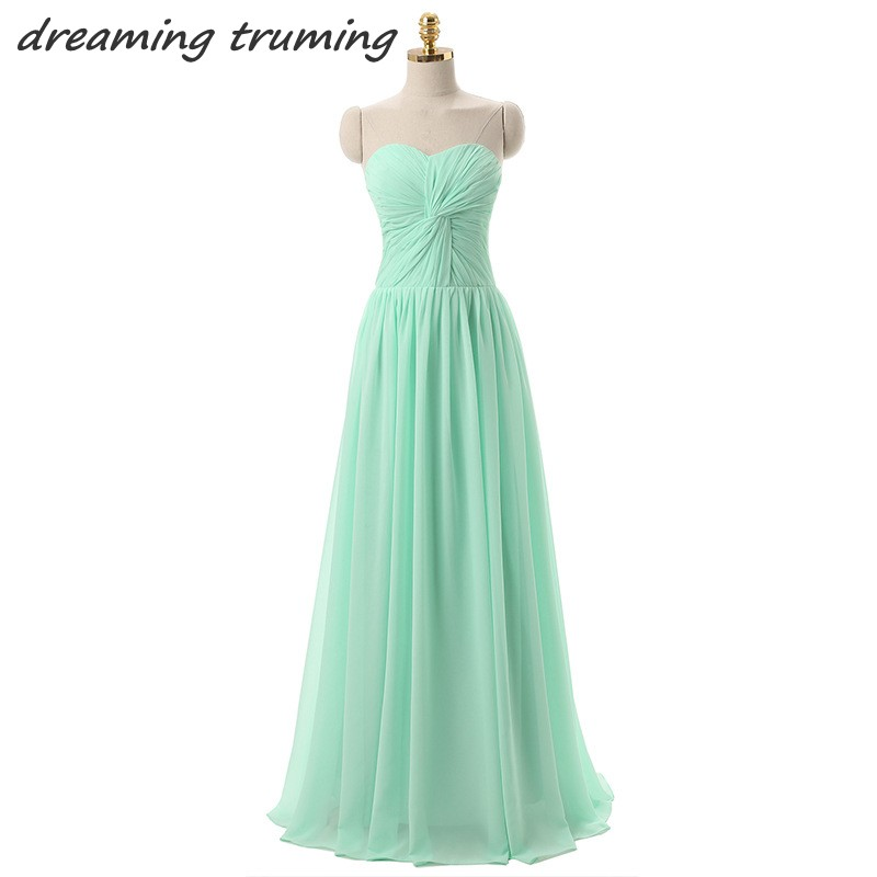 2018 Mint Green Plus Size Bridesmaid Dress Sweetheart Puffy Chiffon