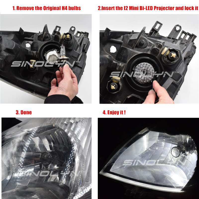 Image 5 - SINOLYN H4 9003 LED Mini Bi LED Projector 1.5 inch Headlight Lens 60W 5500K Headlamp Retrofit DIY Car Styling High Low Lights-in Car Headlight Bulbs(LED) from Automobiles & Motorcycles