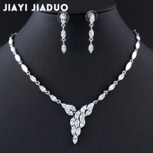 jiayijiaduo Zircons 2017 New Wedding Costume Accessories Cubic Zircon Crystal Earrings And Necklace Wedding Bridal Jewelry Sets