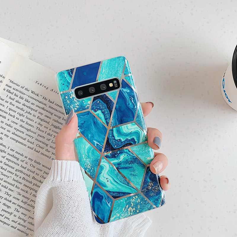 Покрытие геометрический чехол для телефона samsung Galaxy S10 S8 S9 Plus мраморный чехол для samsung S10e S10 lite мягкий чехол из ТПУ