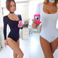 Women Ladies Sexy Long Sleeve Jumpsuit Bodysuit Stretch Leotard Playsuits