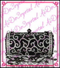 Aidocrystal crown pattern pure handmade shoulder chain cross body black evening purse for lady