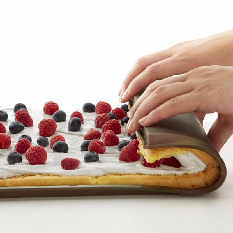 เค้กจ้า 2017 Nonstick เครื่องมือขนมอบอบซิลิโคนพรมปูพื้นเสื่อ, อุปกรณ์ครัวแม่พิมพ์ซิลิโคนสวิสม้วนเสื่อ Pad D0135-1