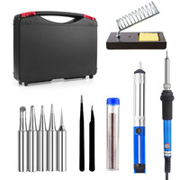 60W 110V Us220V EU Electric Adjustable Temperature Welding Solder Soldering Iron With 5pcs Iron Tips Tin