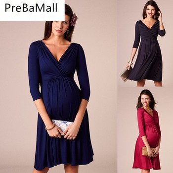 Breastfeeding Maternity Wrinkle Dresses Evening Party Dress Clothes for Pregnant Women Pregnancy Nursing Dress Clothing C0067 hi bloom new fashion summer maternity dress pregnant knee length clothes for pregnancy women elegant evening party vestidos