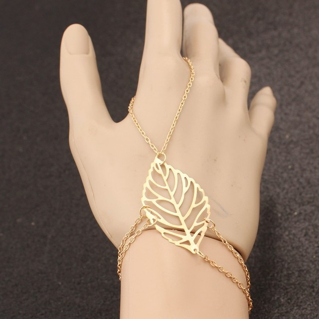 1pc New 2017 Simple Fashion Bracelet Gold Hollow Finger Leaves Jewelry Bracelet For Ladies Gifts Free Shipping