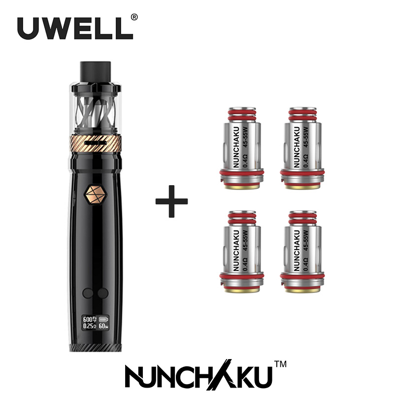 UWELL NUNCHAKU Kit & NUNCHAKU bobine Set 5-80W avec 5ml réservoir 18650 batterie ou USB charge (sans batterie) E-cigarette Vape Kit