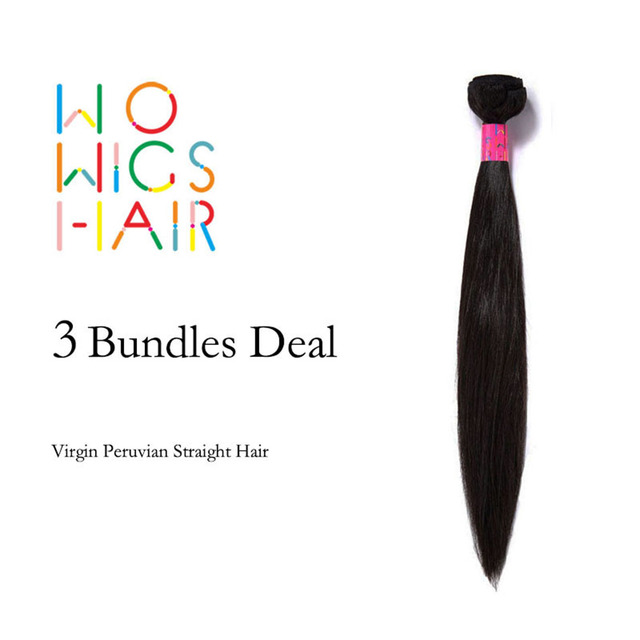 WoWigs Волосы Перуанский Девственница Волосы Прямые 3 Пучки Много Natural Color 1B