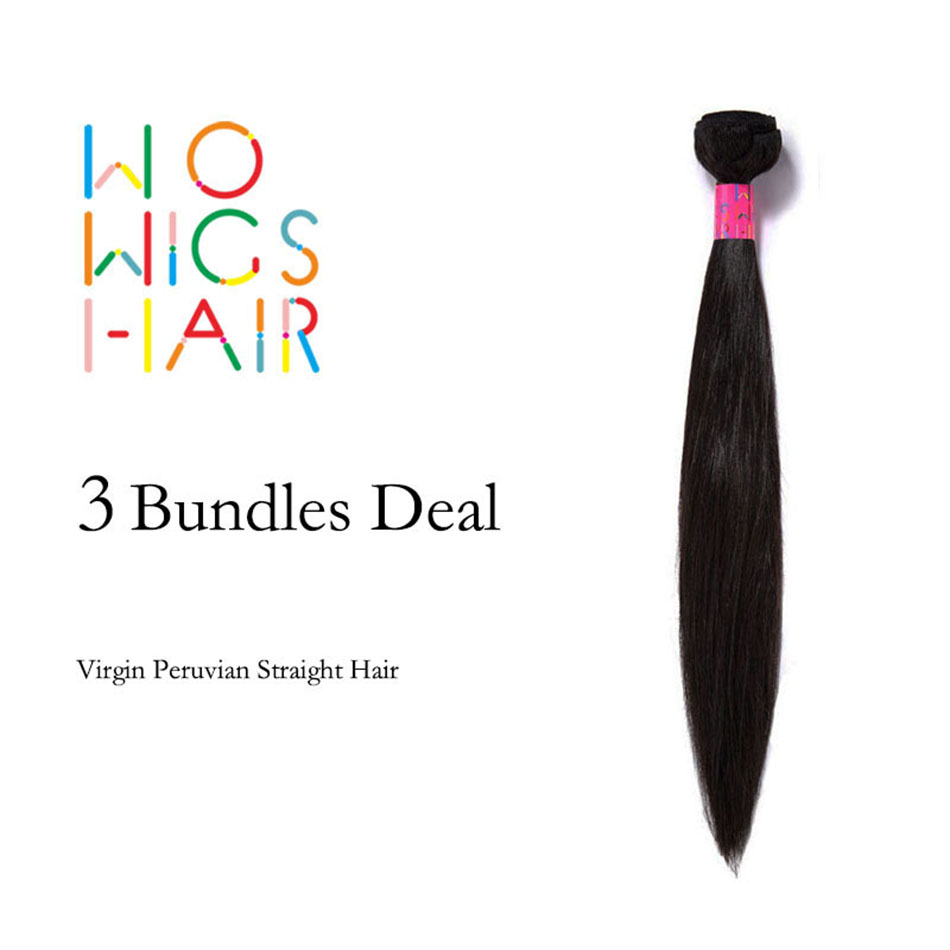 WoWigs Hair Peruvian Virgin Hair Straight 3 Bundles Deal Natural Color 1B