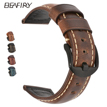 BEAFIRY 20mm 22mm 24mm Oil Tanned Natural Crack Genuine Leather Watch Band  Straps Watchbands Belt With Pin Buckle