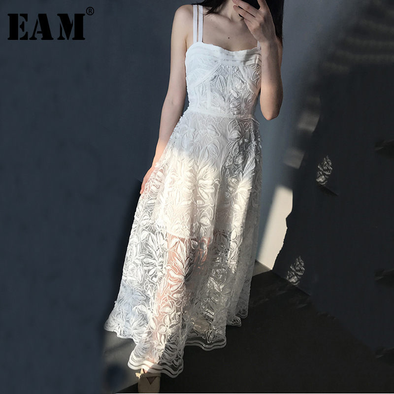 [EAM] 2018 New Summer Round Neck Strapless White Lace Split Joint Loose Embroidery Sexy Temperament Dress Women Fashion JF985 summer embroidery ruffled round neck dress loose robe dress