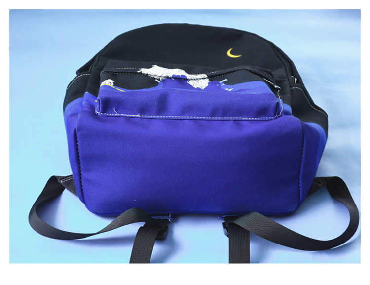 HTB1q2C6XJjvK1RjSspiq6AEqXXaZ Moon Wood Original Design Black Blue Print Sea Moon Backpack Women Casual Canvas Backpack School Bags For Teenager Girls Sac