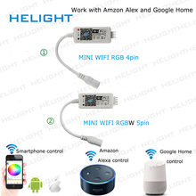 DC12-28V MINI WIFI RGB/RGBW strip controller Music controller By Amazon Alexa Google Home Phone WIFI controller for Strip light(China)