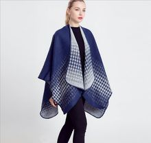 2015 New fashion thick tartan plaid cashmere poncho blanket scarf for women winter warm shawl wraps