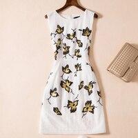 New Women Sequins Embroidery Dress Elegant Sleeveless Mini Casual Dresses D4820