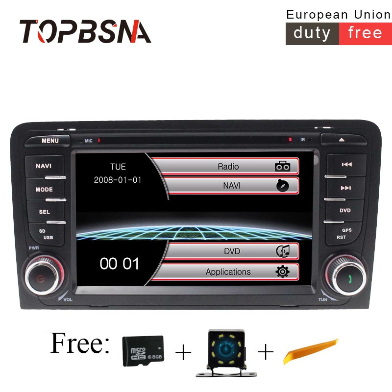 TOPBSNA 2 Din 7 INCH Car Multimedia For AUDI A3 S3 2002-2011 Radio GPS Navigation Steering Wheel Control Headunit Autoaudio RDSTOPBSNA 2 Din 7 INCH Car Multimedia For AUDI A3 S3 2002-2011 Radio GPS Navigation Steering Wheel Control Headunit Autoaudio RDS