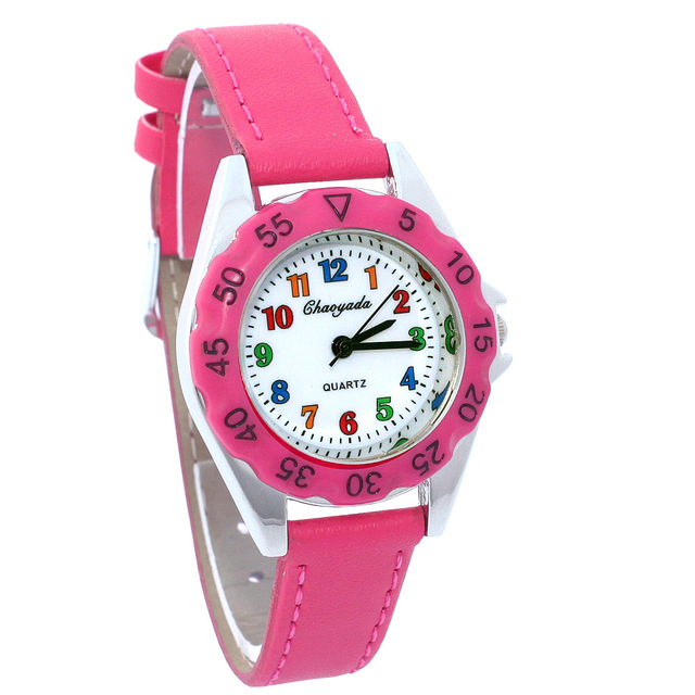 The First Watch for Kids Girls Women Leather Wristwatch Casual dress watch Fashion Children Learn Time Watch Dropshipping U48