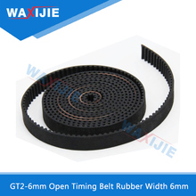 WAXIJIE Black GT2-6mm Open Timing Belt Rubber Width 6mm 3D Printers Parts 2GT Synchronous PU Belts Pitch 2mm For Motor 2 meters
