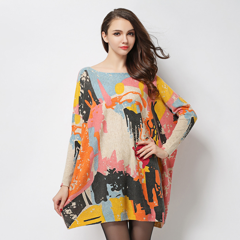 US $37.32 |2018 New Autumn Winter Dress Plus Size Long Sleeve Drawing  Graffiti Print Women Sweater Knitting Dresses Loose Pullover Tops-in  Dresses ...