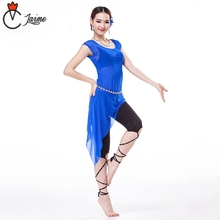 Candy Colors Practice Clothes 3-piece Costume Milk Silk Black Leggings Women Belly Dance Dress Set with Rhinestone Chain