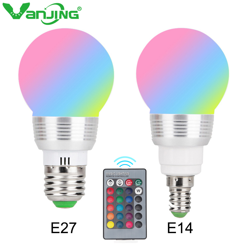 LED RGB Bulb Lamp E27 E14 85-265V LED Changeable Spotlight 3W Magic Holiday RGB Lighting +Remote Control 16 Colors