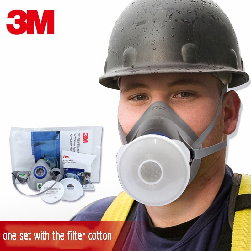 3 M 7702 Anti-virus demi-masque poussière pulvérisation peinture organique vapeur masque de protection charbon actif filtre boîte respirateur ensemble N95
