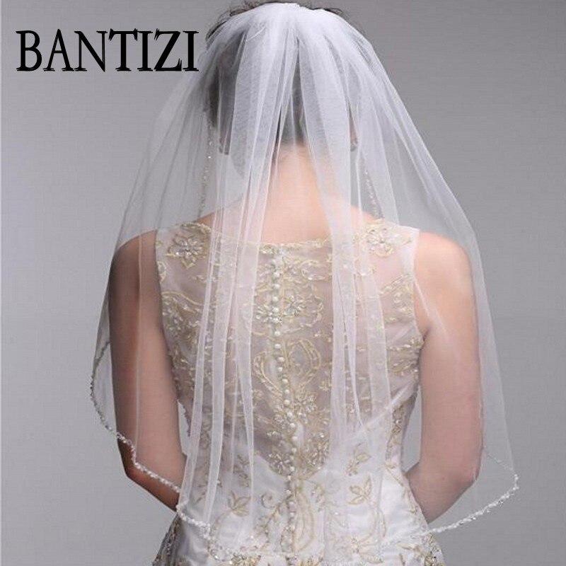 2016 One Layer Bridal Veils With Comb Velos De Novia Birdcage White Ivory Tulle Beaded Edge Pearl Short Wedding Veil