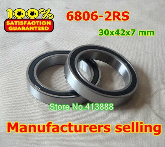 NBZH sale price 10pcs free shipping The Rubber sealing cover Thin wall deep groove ball bearings 6806-2RS 30*42*7 mm ABEC-1 Z1 1pcs 71822 71822cd p4 7822 110x140x16 mochu thin walled miniature angular contact bearings speed spindle bearings cnc abec 7