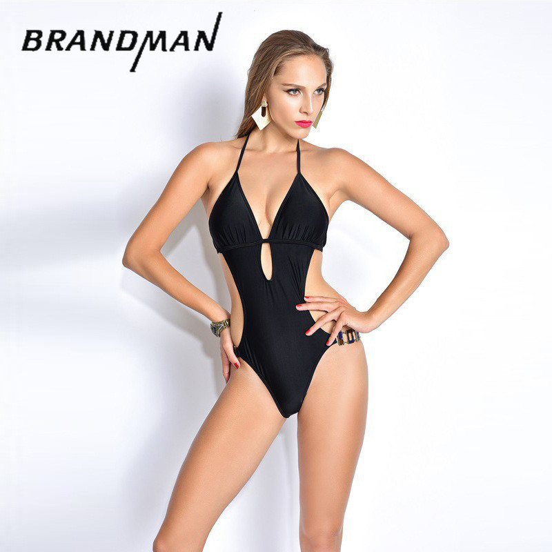 Black Bodysuit Sexy One Piece Swimsuit Backless Swimwear Straps Cut Out Design Women Bathing Suit Monokini Beach Wear 1550 women solid one piece swimsuit halter backless bandage bodysuit monokini deep v neck sexy high waist vintage beach wear