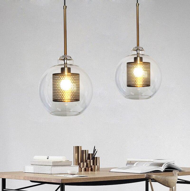 Grille métallique lustre boule de verre Loft vent industriel rétro petit lustre hôtel Restaurant Art personnalité lampes