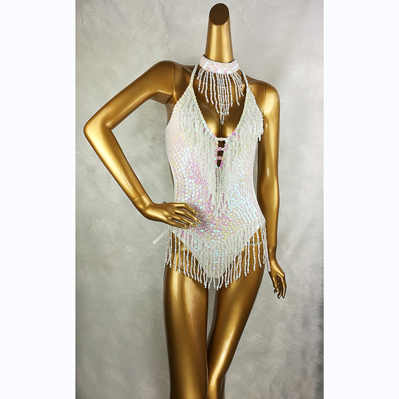Sexy Women Beading Bodysuit Sequin Swimsuit Latin Belly Dance Costume Dancer One-Piece Outfit Costume Stage Performance Leotard