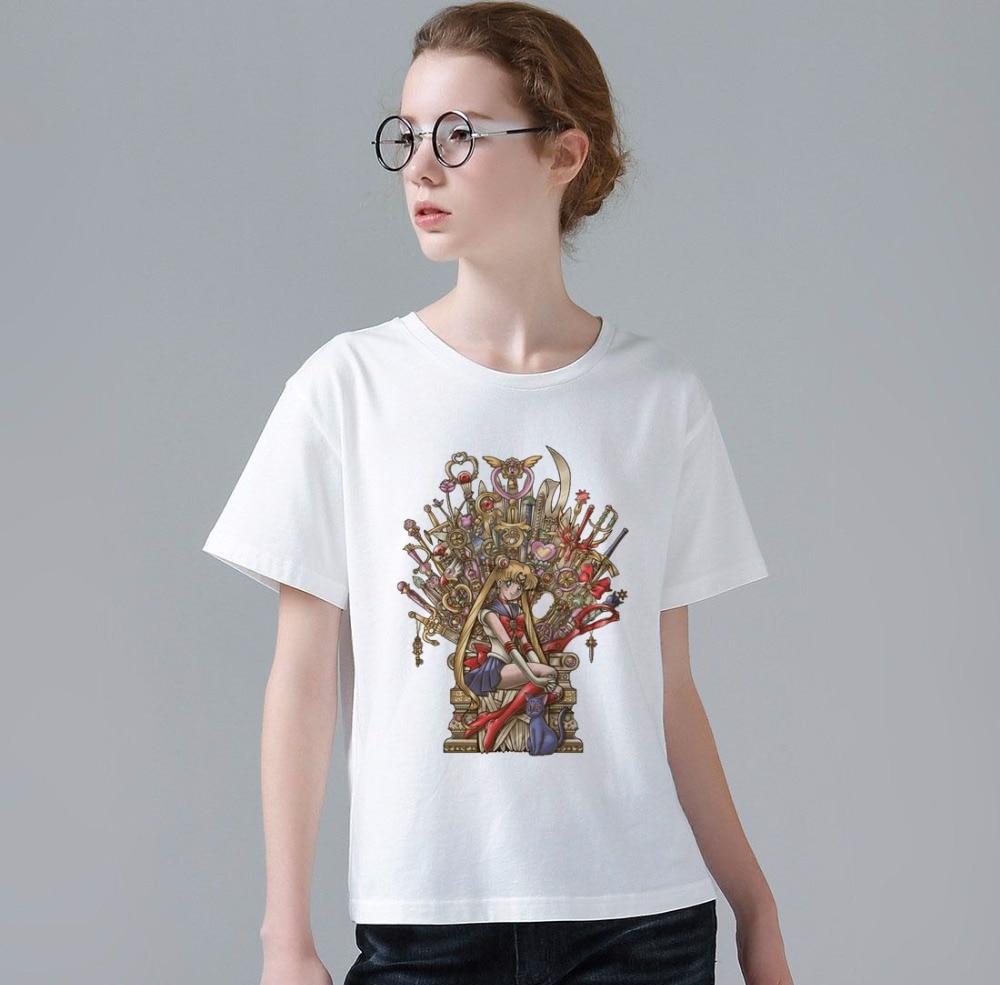 2017 Fashion Anime Sailor Moon Game of Thrones T-Shirt Summer Women's/Lady Punk Rock T Shirt High Quality Harajuku Tee Tops W716