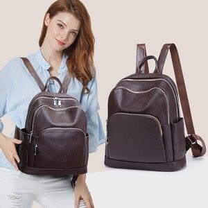 Image 3 - Sac à dos de mode pour femmes en cuir véritable sac à bandoulière de luxe pour femmes