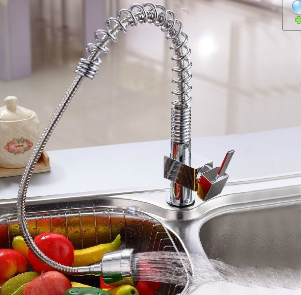 BECOLA Brand Design classic kitchen faucet Brass Chromed single handle single hole pull out swivel the